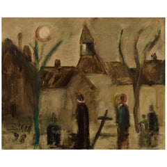 Svend Aage Tauscher, Listed Danish Artist, Scenery from Cemetery with People