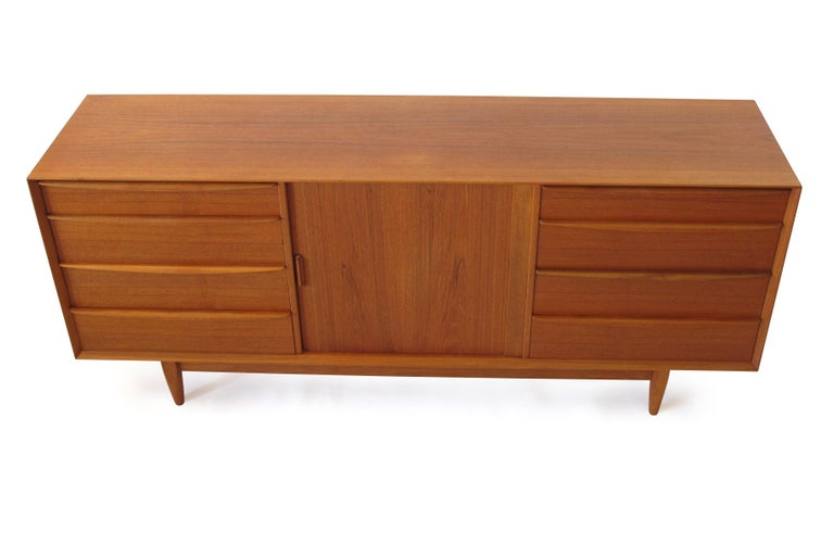 Mid-Century Modern Svend Åge Madsen Teak 13-Drawer Dresser Cabinet For Sale