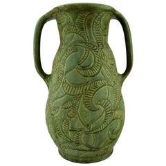 Svend Hammershøi for Kähler, Denmark, Large Unique Vase with Handles