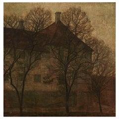 "Svend Hammershøi Painting, ""Holmegaard Manor"" 'Holmegaard Gods'"
