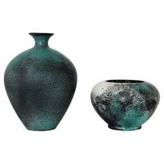 Svend Hammershoj Earthenware Vases for Kähler Ceramics, Denmark, 1930s