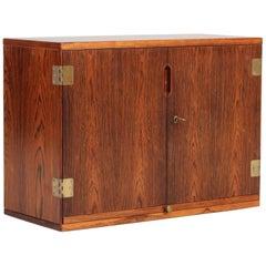 Svend Langkilde Danish Midcentury Rosewood Wall Bar Cabinet by Langkilde Møbler