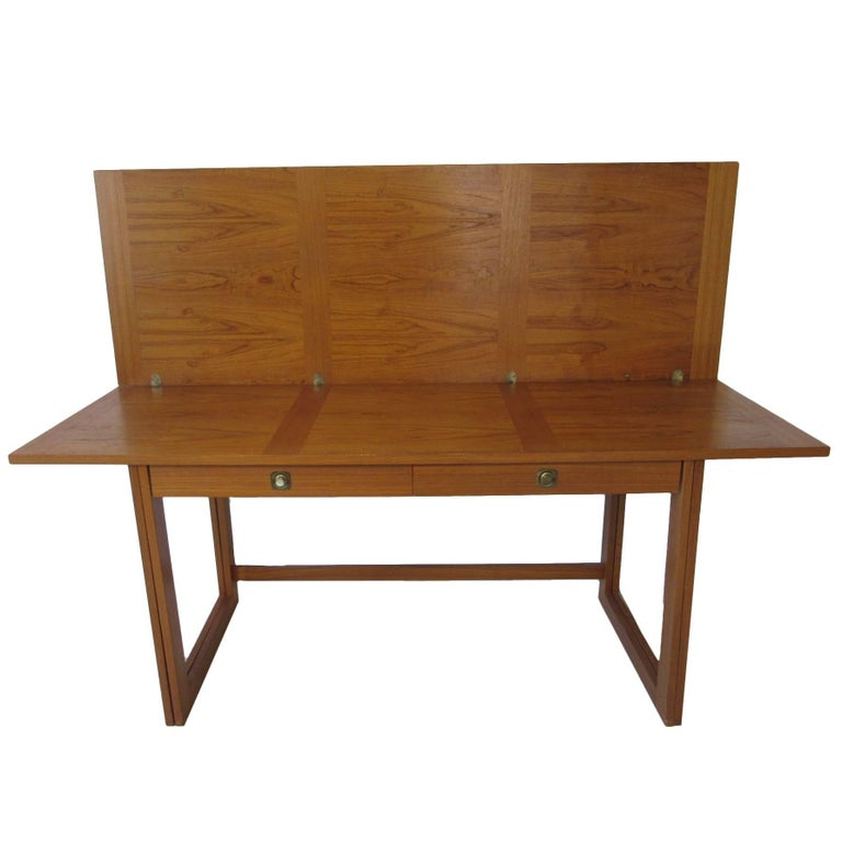 Svend Langkilde Danish Teak Flip Top Desk Or Dining Table Work For