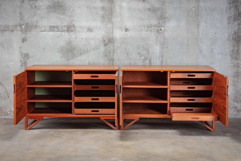 Mid-Century Modern Svend Langkilde Pair of Teak Cabinets For Sale