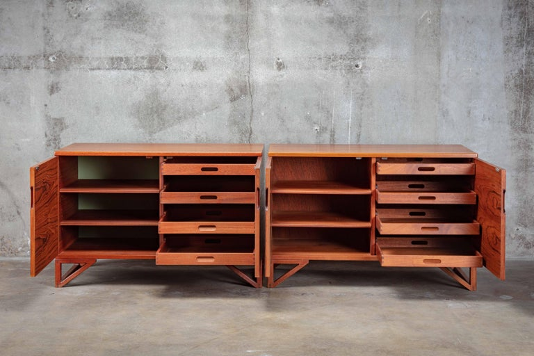 Mid-20th Century Svend Langkilde Pair of Teak Cabinets For Sale