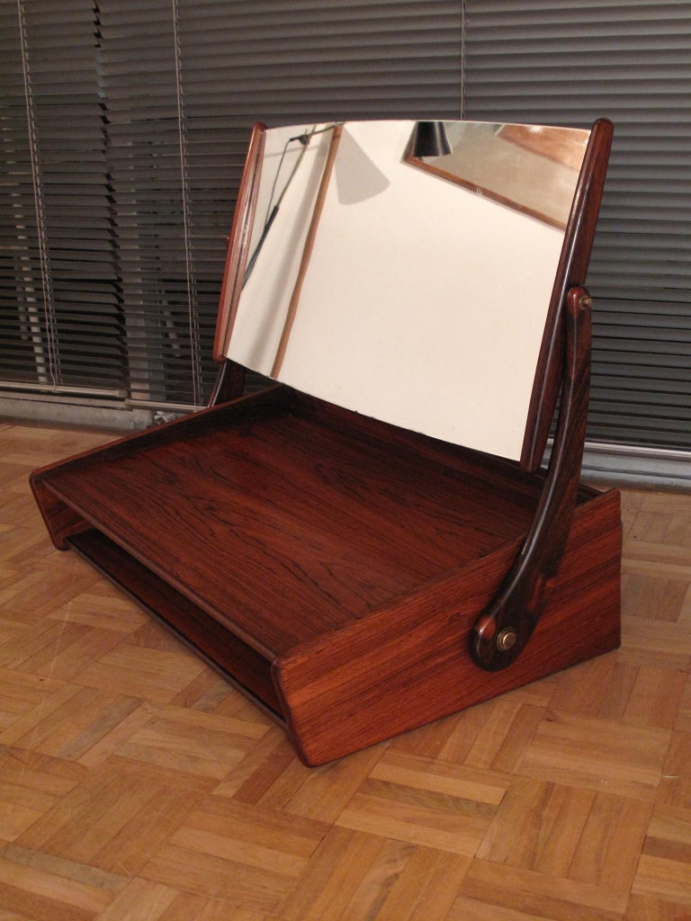 Glass Svend Madsen Rosewood Wall Mounted Vanity Unit For Sale