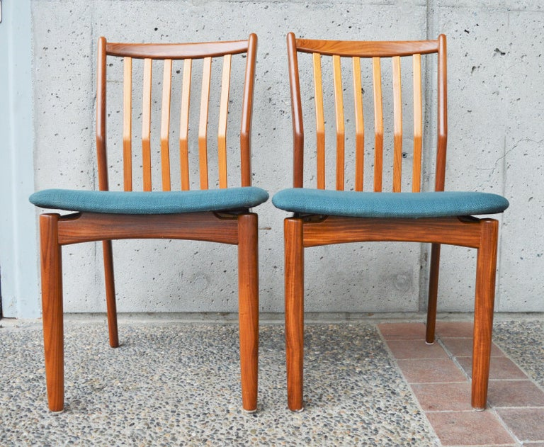 Groovy Svend Madsen Set Of 4 Danish Teak Dining Chairs With Bent Backs New Teal Tweed Lamtechconsult Wood Chair Design Ideas Lamtechconsultcom
