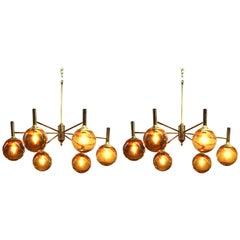 Svend Mejlstrom Scandinavian Modern Brass and Glass Globe Chandelier