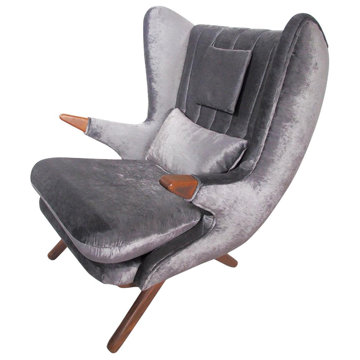 Svend Skipper Grey Velvet Lounge Chair with Teak Armrests