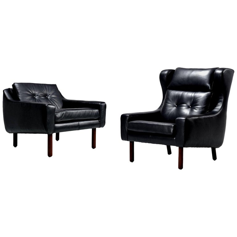 Svend Skipper Style Black Leather Wingback and Low Back Lounge Chairs For Sale