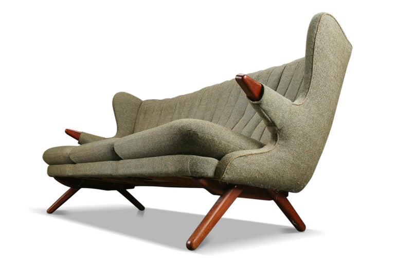 Mid-Century Modern Svend Skipper Teddy Bear Three Seat Sofa For Sale