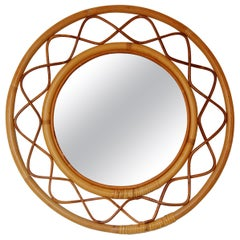Svenskt Tenn, Organic Wall Mirror, Woven Wicker, Bambo, Glass, Sweden, 1950s