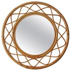 Svenskt Tenn, Organic Wall Mirror, Woven Wicker, Bambo, Glass, Sweden, 1950s