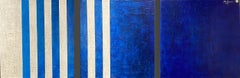 Fifty Shades of Blue (triptych). Original blue & white textural abstract set