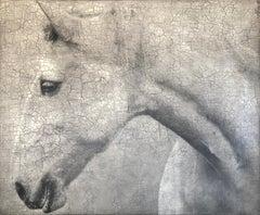 White Horse Portrait Large Contemporary Texture Hyperrealistic Animal Art 59x71