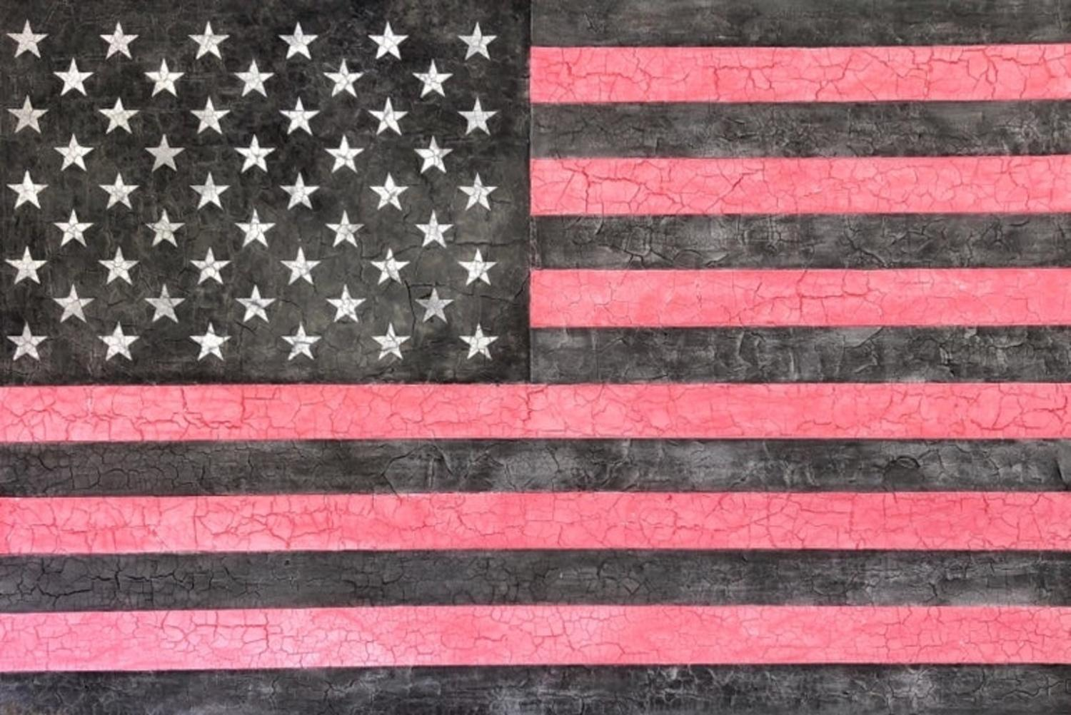 American Flag Pink Grey White Large Original Modern Contemporary Painting 48x72
