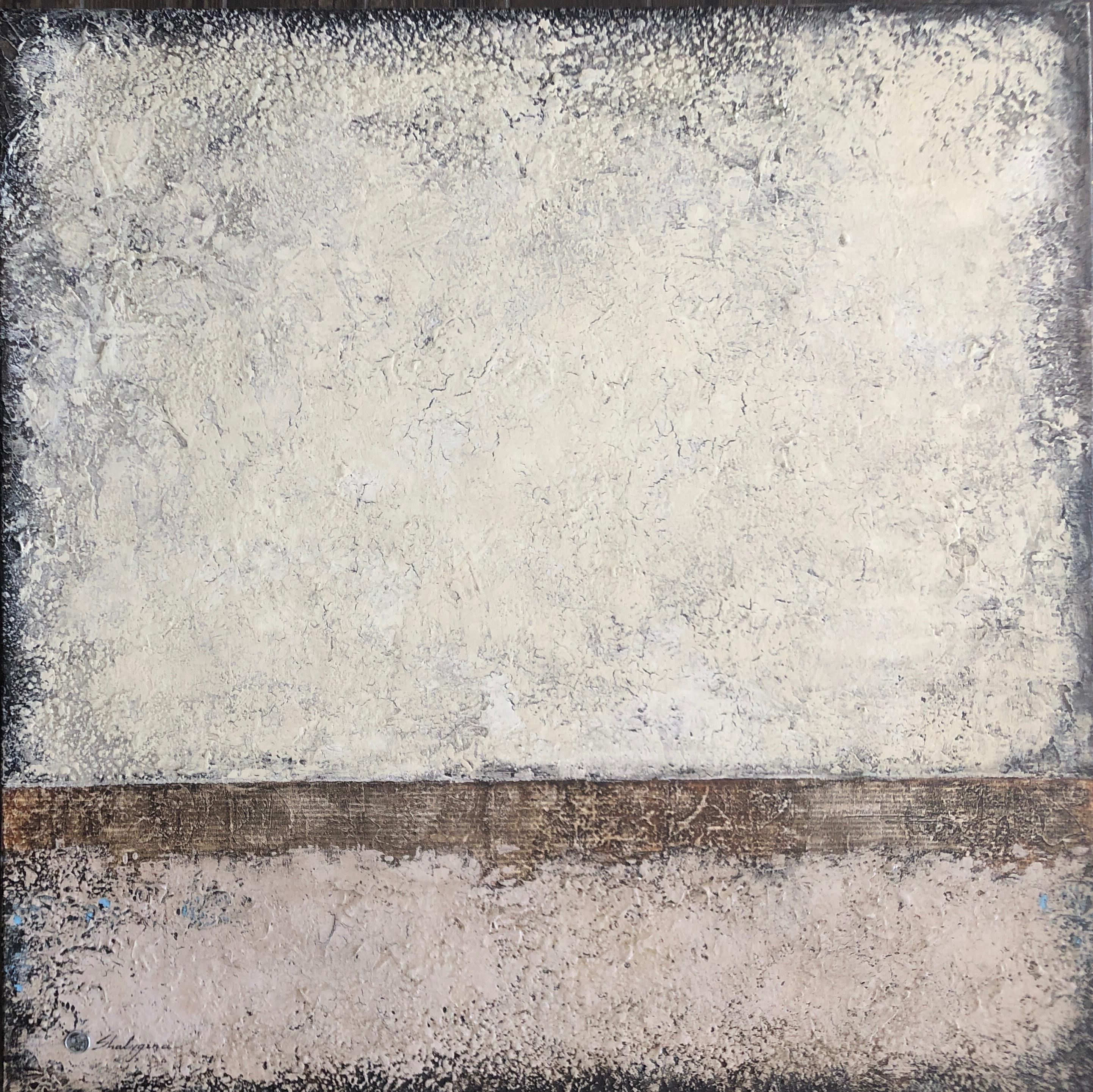 Monochrome Cream Beige Neutral Hues Large Minimalist Contemporary Abstract 40x40