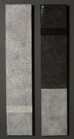 Black White Grey Minimalist Abstract Contemporary Textural Diptych 60x24