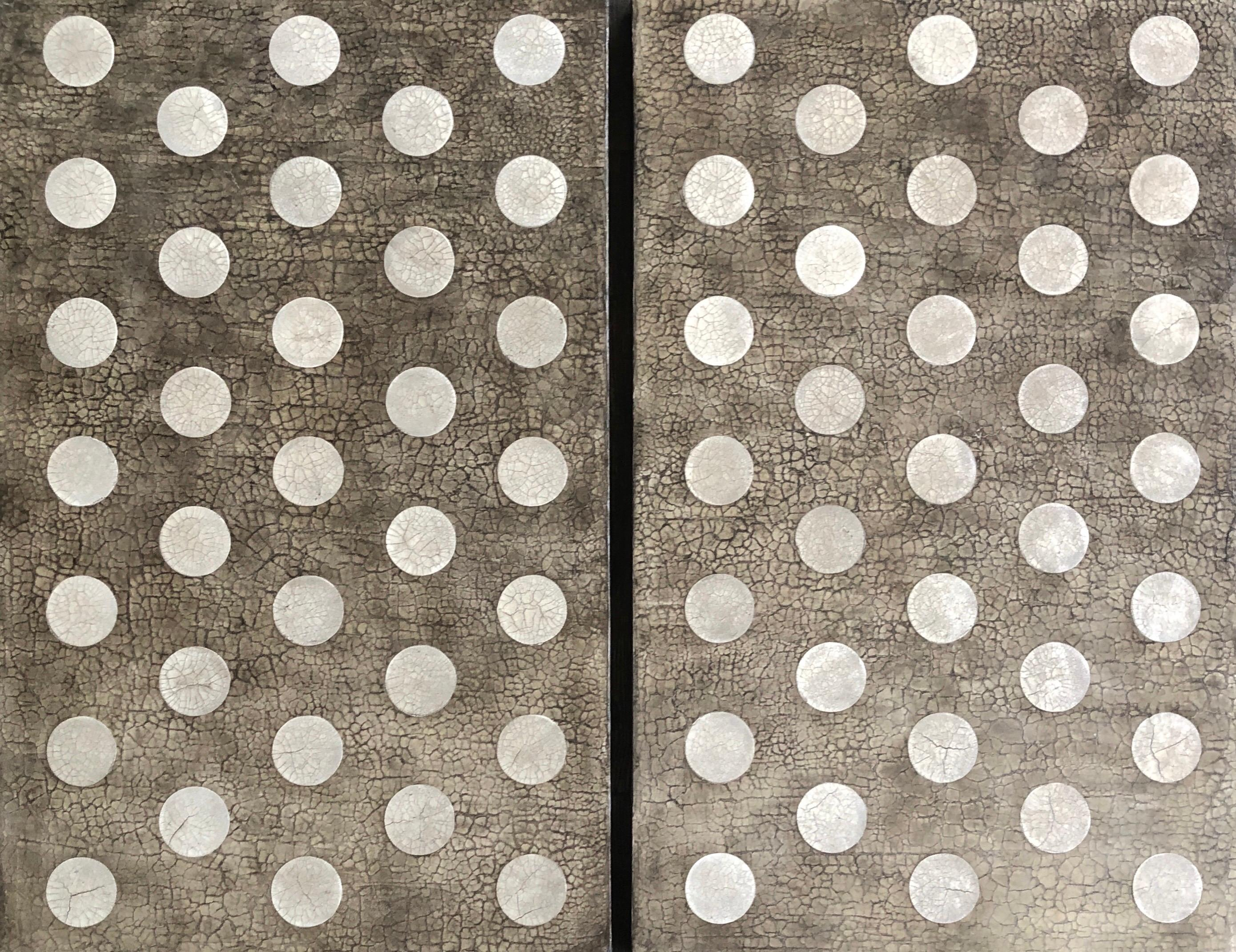 """Cream Beige Taupe Polka Dot Geometric Texture Large Abstract 48""""x60"""" Diptych"""