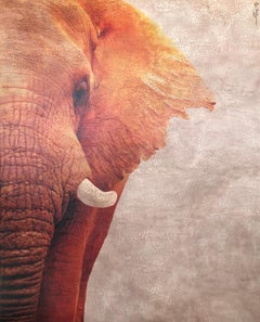 Large Elephant Portrait Burnt Orange Texture Hyperrealistic Mixed Media 71x57
