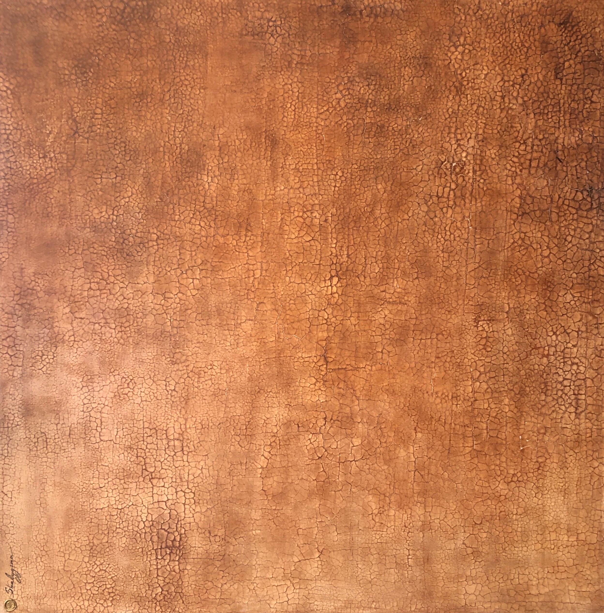 Burnt Orange Monochrome Minimalist Large Textured Abstract Painting 48x48