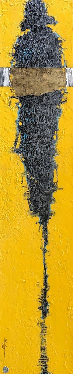 Yellow Gray Figure Contemporary Figurative Abstract Painting Mixed Media 60x12