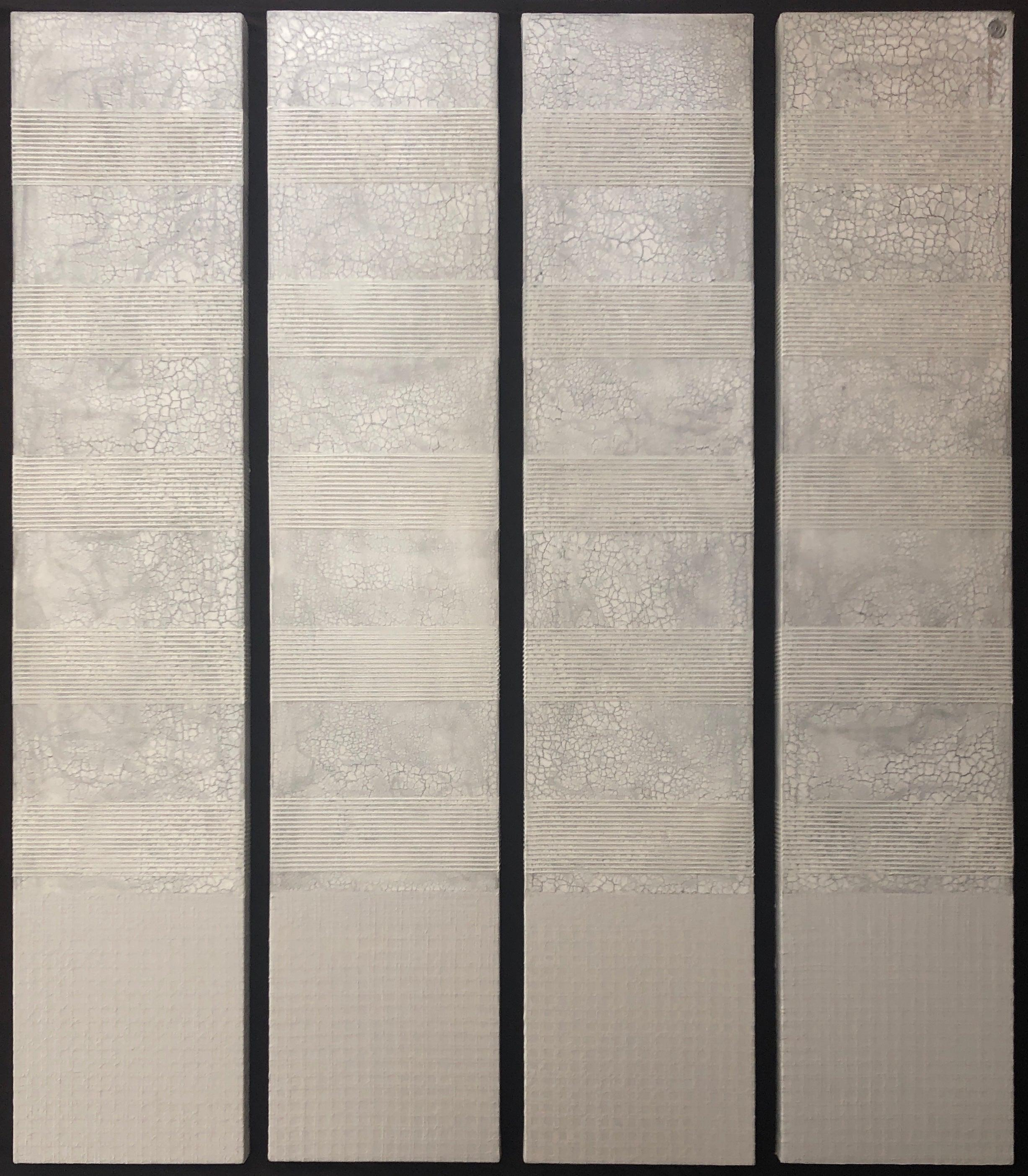 """White Raised Texture Monochrome Minimalist Abstract Painting 4 Canvases 60""""x12"""""""