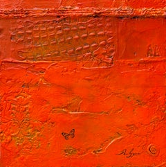 Fiery Red Orange Minimalism Contemporary Textural Abstract Mixed Media 16x16