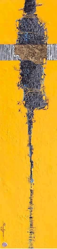 Yellow Grey Figure Contemporary Figurative Abstract Painting Mixed Media 48x12