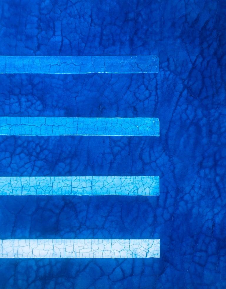 "Jewel Tone Blue Modern Monochrome Large Contemporary Minimalist Painting 48""x48"" For Sale 1"