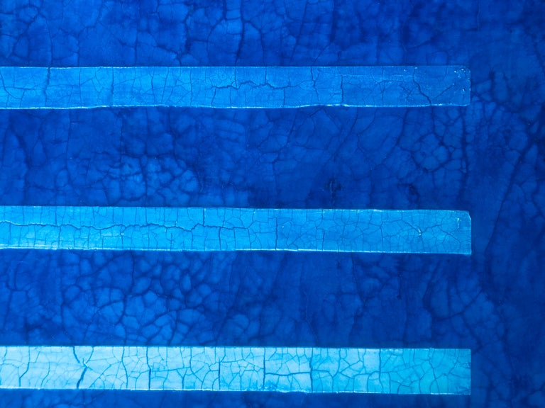 "Jewel Tone Blue Modern Monochrome Large Contemporary Minimalist Painting 48""x48"" For Sale 2"