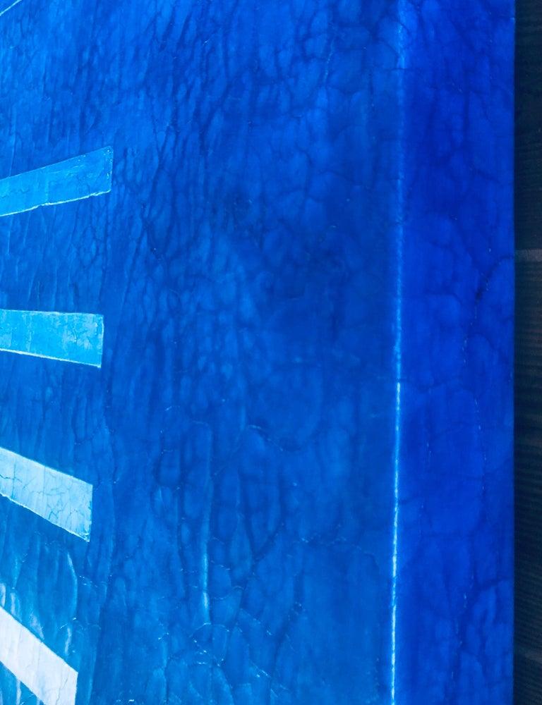 "Jewel Tone Blue Modern Monochrome Large Contemporary Minimalist Painting 48""x48"" For Sale 3"