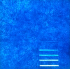 "Jewel Tone Blue Modern Monochrome Large Contemporary Minimalist Painting 48""x48"""