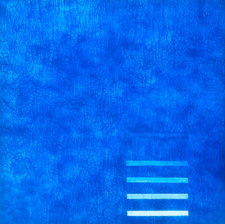"Svetlana Shalygina Abstract Painting - Jewel Tone Blue Modern Monochrome Large Contemporary Minimalist Painting 48""x48"""