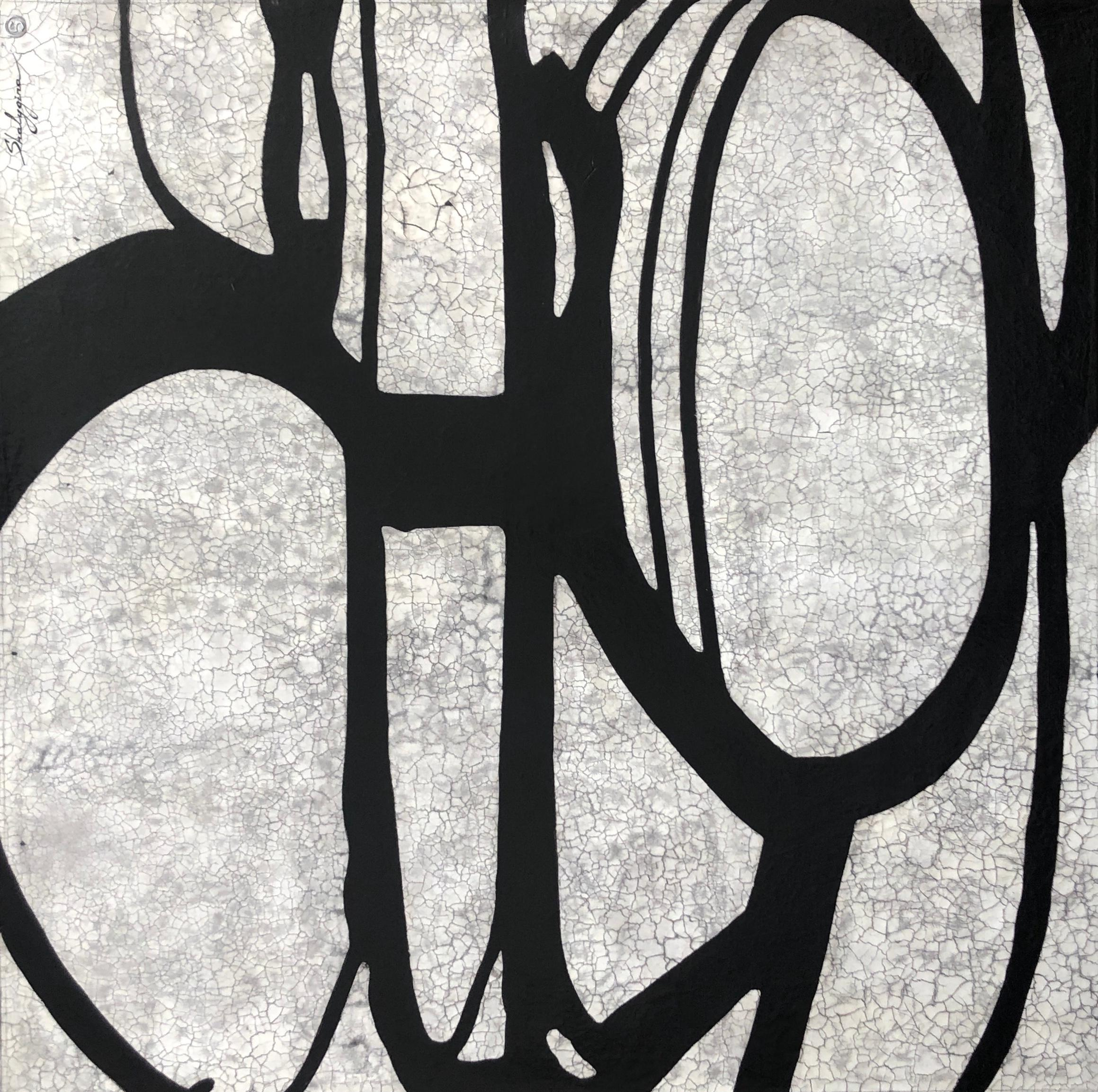 """Gray Black White Large Scale Minimalist Contemporary Abstract Painting 48""""x48"""""""