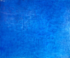 Blue Large Monochrome Minimalist Modern Contemporary Textural Mixed Media 60x72