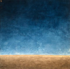 Blue Orange Brown Large Modern Contemporary Textural Mixed Media Painting 48x48