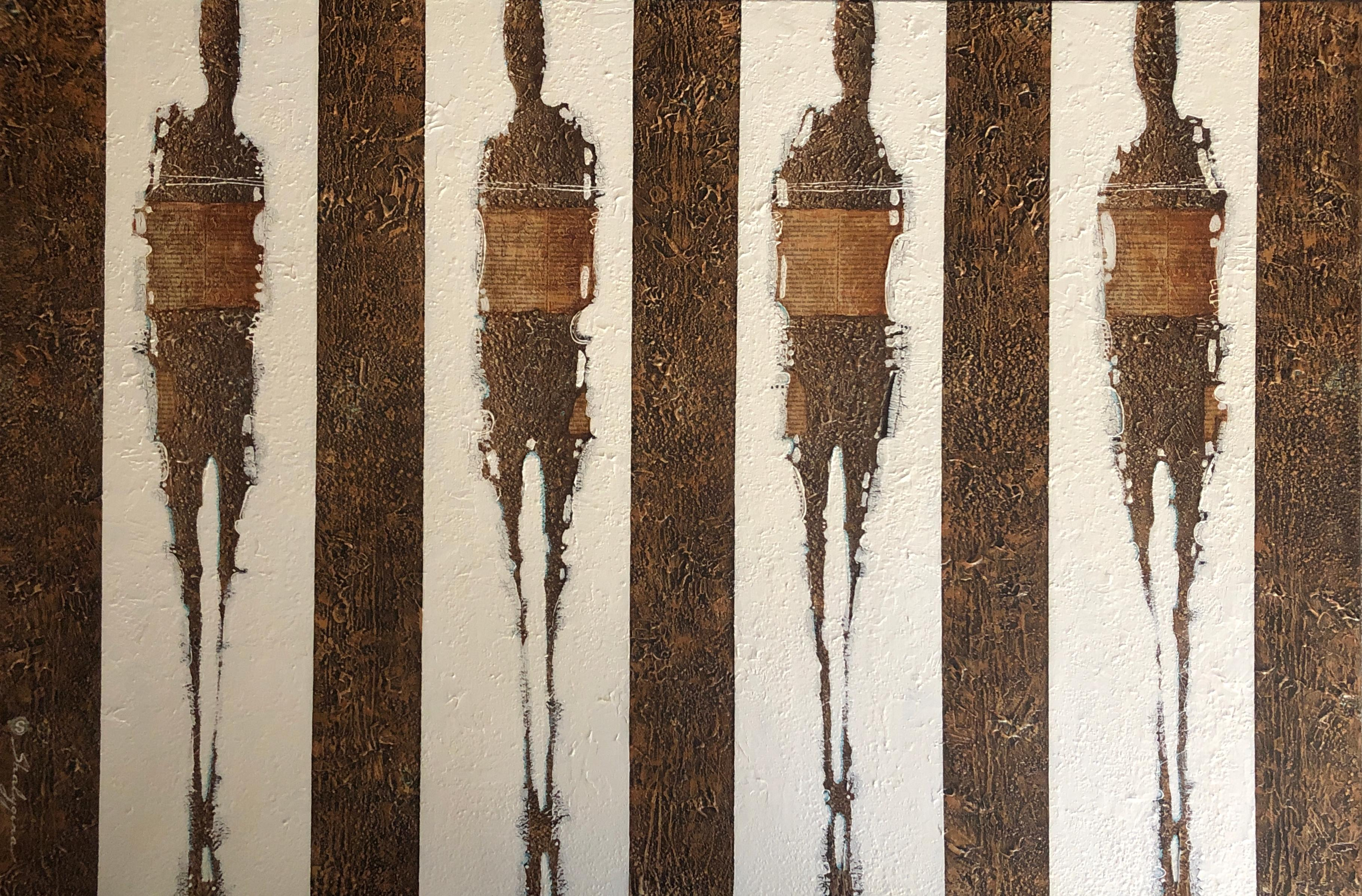 Brown White Textural Abstract Figures Large Scale Contemporary Painting 48x72