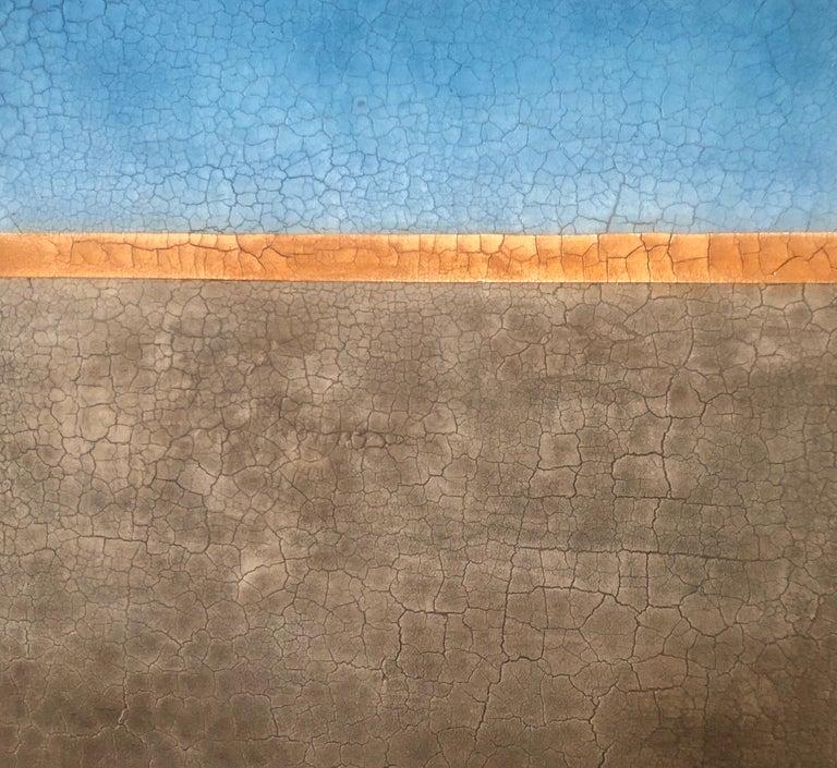 Blue Orange Raw Amber Hues Minimalist Contemporary Mixed Media Painting 72