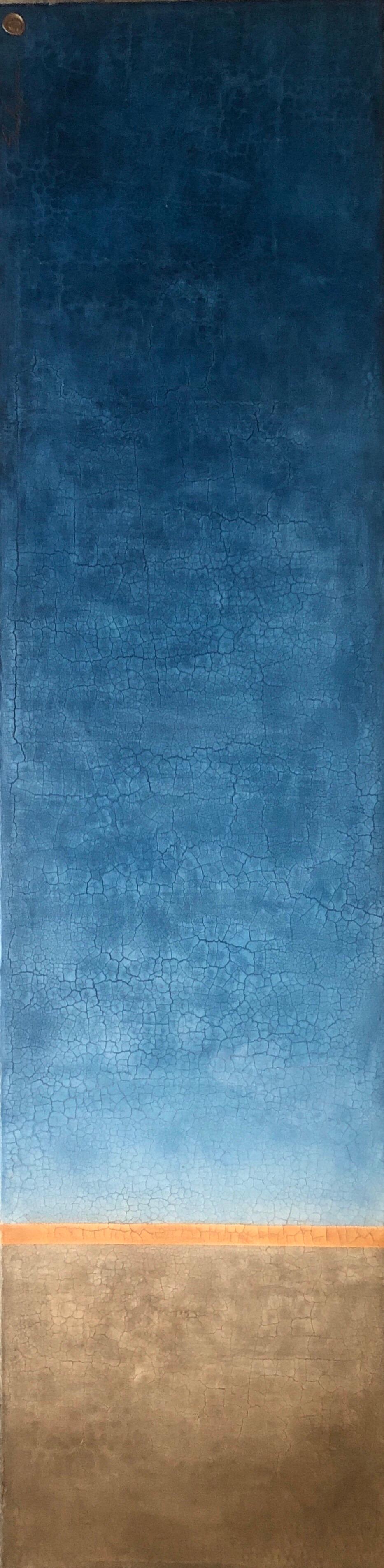 "Blue Orange Raw Amber Hues Minimalist Contemporary Mixed Media Painting 72""x18"""