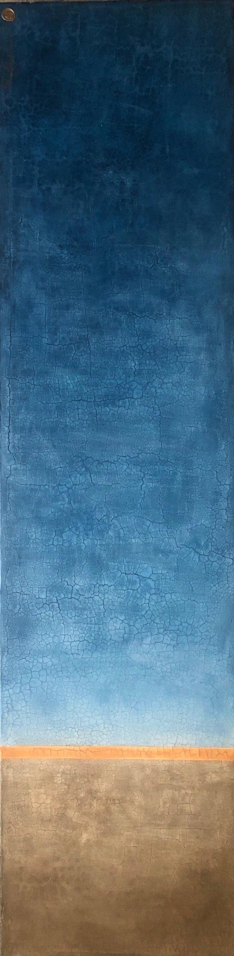 "Svetlana Shalygina Abstract Painting - Blue Orange Raw Amber Hues Minimalist Contemporary Mixed Media Painting 72""x18"""