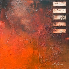 Minimalist Contemporary Orange Red Textural Abstract Mixed Media Painting 20x20