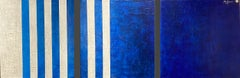 Blue White Minimalist Modern Contemporary Stripes Large Abstract Painting 30x90