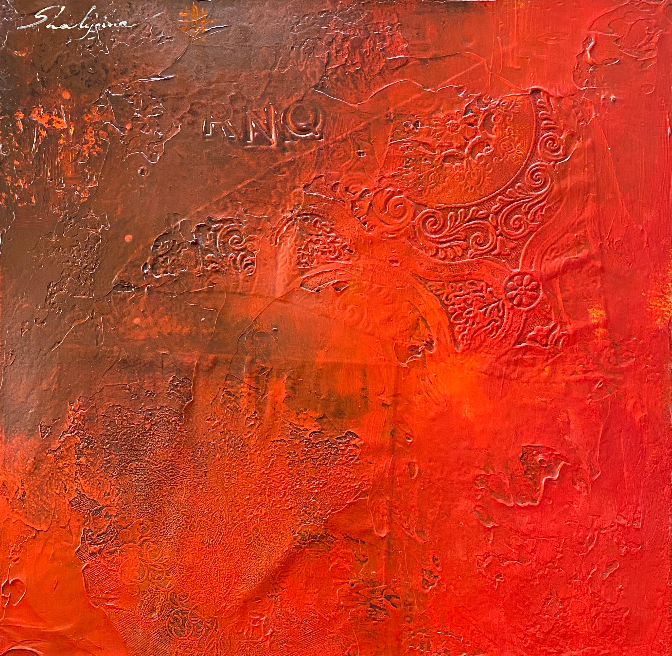 Minimalist Red Orange Contemporary Textural Abstract Mixed Media Painting 20x20