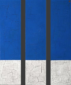 Modern Contemporary Blue White Gray Minimalist Abstract Original Painting 48x36