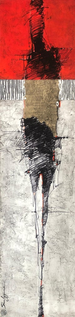 Orange Red Gray Abstract Figure Drawing Contemporary Figurative Painting 48x12