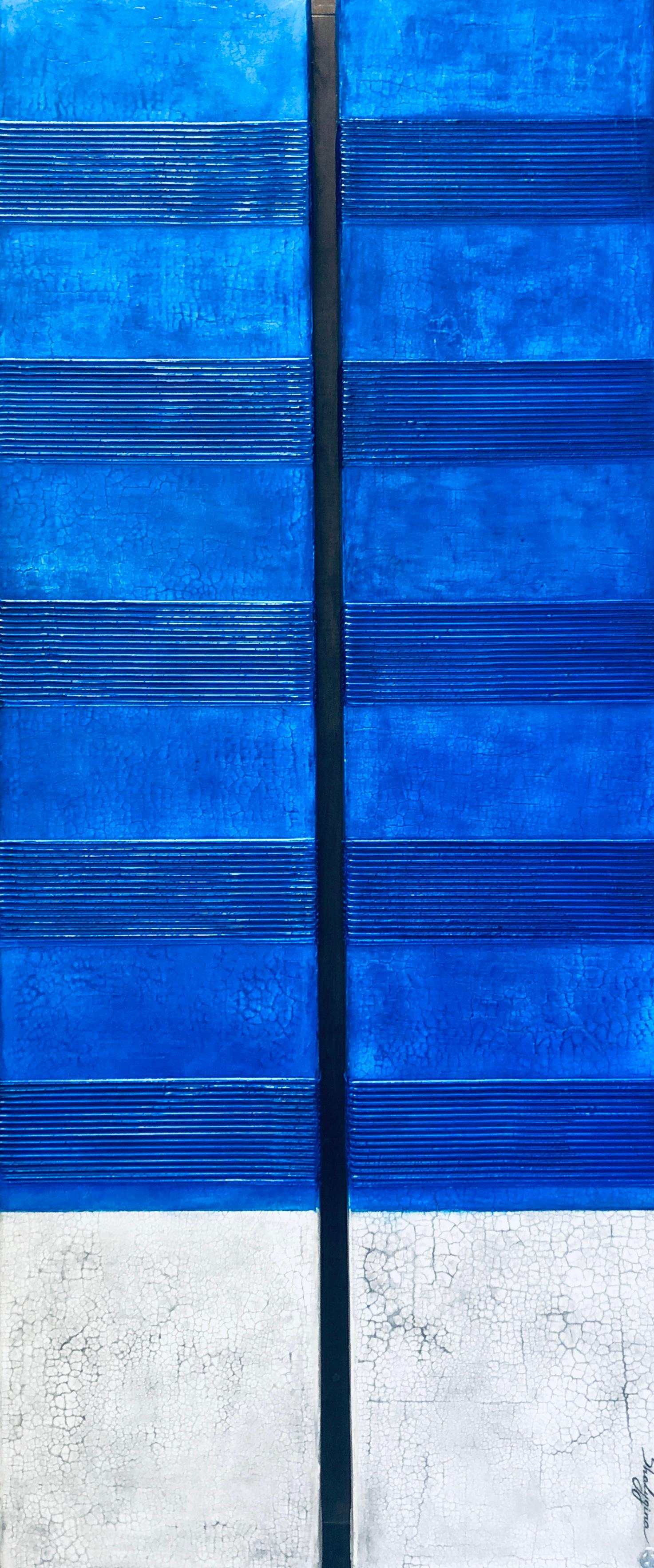"""Blue White Abstract Contemporary Minimalist Textural Mixed Media 60""""x24"""" Diptych"""