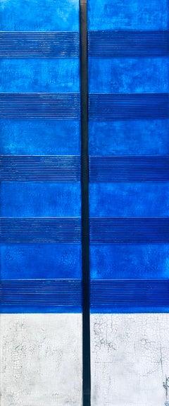 Original Modern Monocrome Blue White contemporary Minimalist Painting 60x24