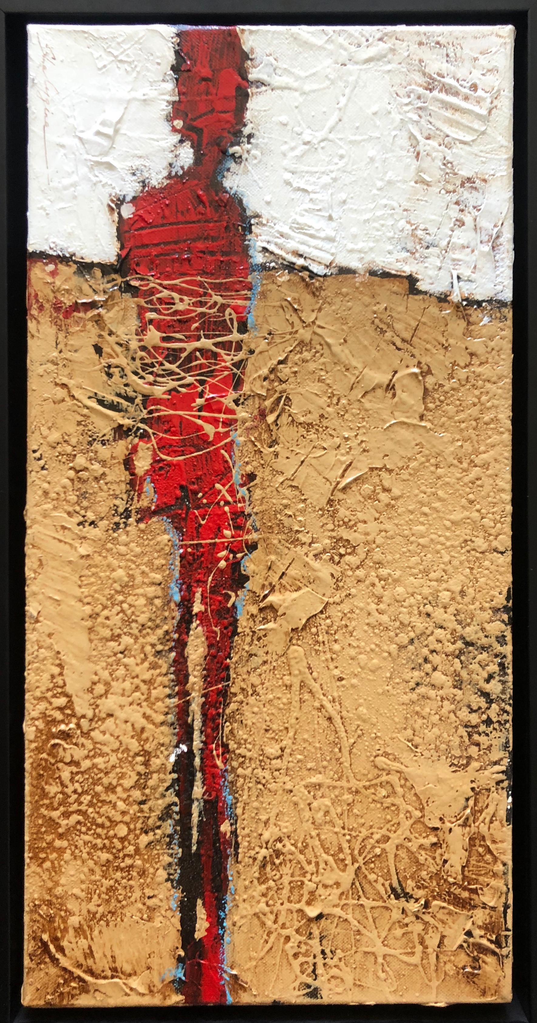 Contemporary Weathered Rustic Beige White Red Abstract Figurative 20x10 Framed