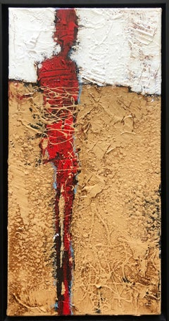"""Pensive"" Weathered Rustic Beige White Red Abstract Figurative 20x10 Framed"